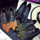 Classic Women Pointed Toe Bowknot Flat Shoes Slip On Casual Lady Pump Boat Shoes
