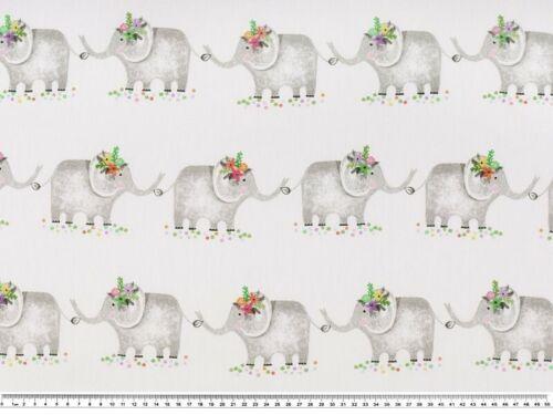 Dekostoff Baumwollmischgewebe geschmückte Elefanten 140cm