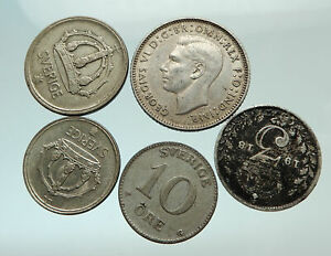 GROUP-LOT-of-5-Old-SILVER-Europe-or-Other-WORLD-Coins-for-your-COLLECTION-i75689