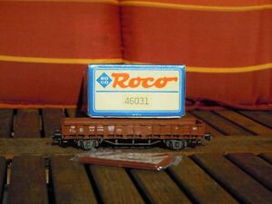 Roco-46031-Rungen-Flachwagen-Rr-20-der-DB-Ep-3-neuwertig-OVP-mit-Buegelkupplungen