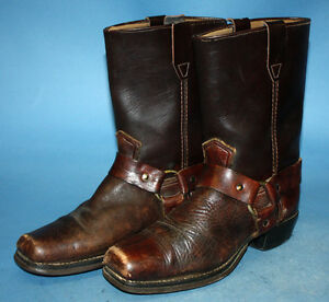 df1f3ccbedd9c Details about MENS/BOYS VINTAGE 70s HARNESS/RING MOTORCYCLE/BIKER BROWN  LEATHER BOOTS sz 5.5