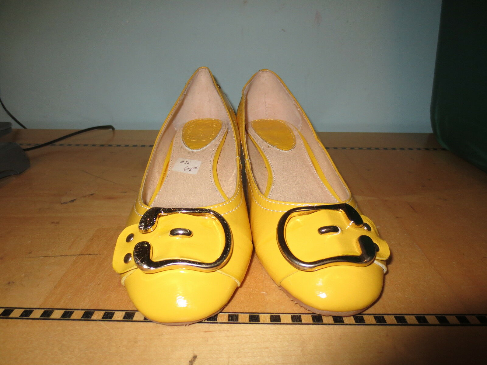 New retro patent style yellow patent retro low wedge shoe buckle toe sz 7 Brady 60's a84af0