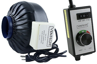 "VenTech 4"" 6"" 8"" Inline Duct Booster Blower Fan with Variable Speed Controller"