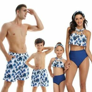 Family Matching Swimwear Beachwear Swimsuit Mother Daughter Father Son Clothes