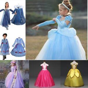 Neu Disney Prinzessin Kleid Kinder Madchen Halloween Karneval