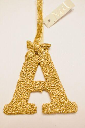 LUXURY GOLD GLITTER HANGING LETTER XMAS TREE DECORATION ALPHABET GIFT TAG