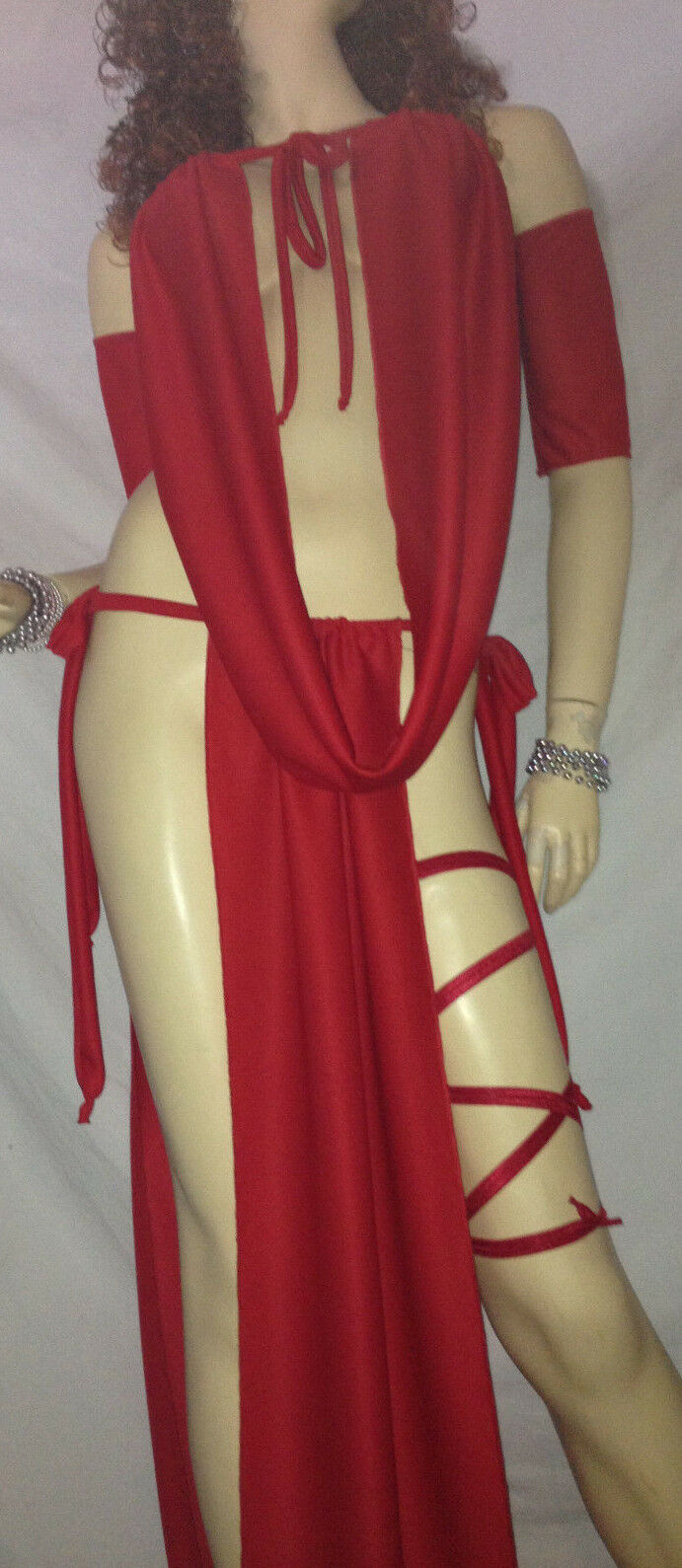PLUS PRINCESS LONG GOWN SLAVE SILKS GOREAN COSTUME KAJIRA COSPLAY CLUBWEAR RED