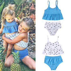 choose authentic best collection world-wide selection of Details about Matching Kids Girls Little/Big Sister Swimwear Bikini Set  Swimsuit Bathing Suit