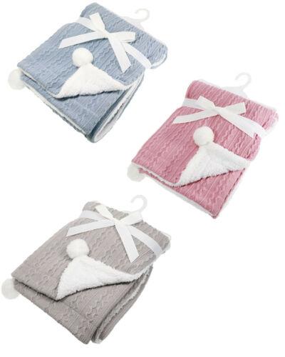Personalized Spanish Style Romany Pink Knitted Pom Pom /& Sherpa Wrap Blanket