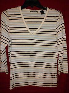 Liz-Claiborne-LizGolf-3-4-Sleeve-Shirt-Blue-White-Stripe-Size-Medium