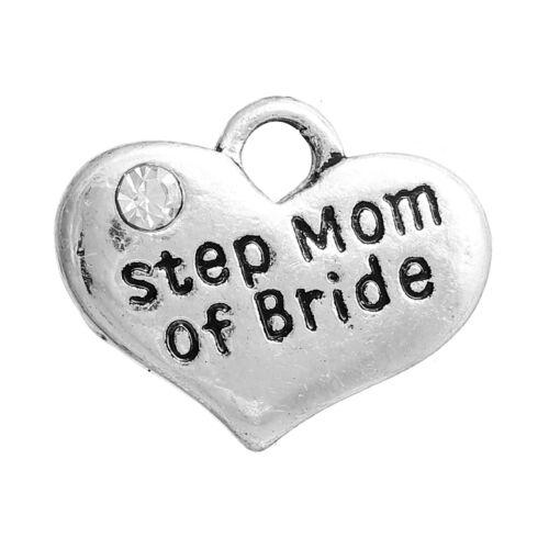 "Antique Silver Rhinestone Charm Family Wedding Pendant 5//8/"" 16mm Friend"