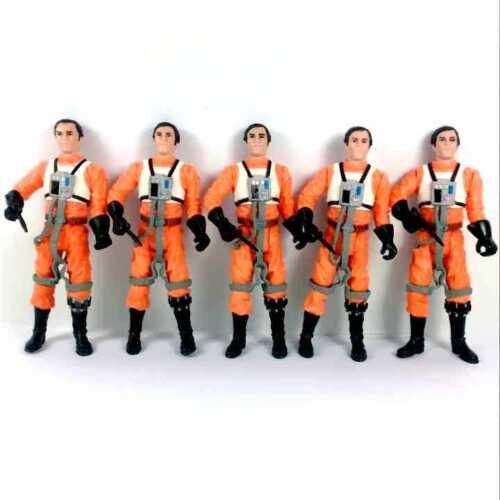 "Lot 5Pcs Star Wars Dutch Vander Gold Leader A New Hope 3.75/"" Hasbro toy w// guns"