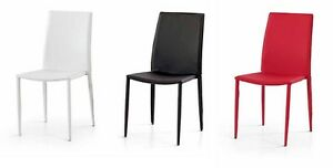Sedie Ufficio Ecopelle : Sedia sedie cucina design soggiorno ufficio ecopelle bianca nera