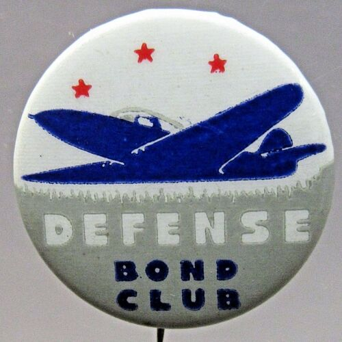 WWII Bell Aircraft P39 DEFENSE BOND CLUB celluloid pinback button home front +