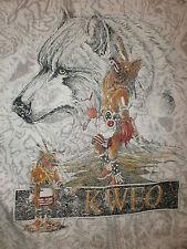 KWEO KACHINA WOLF T SHIRT Dance Mask Native American Indian Tribal vtg 90s