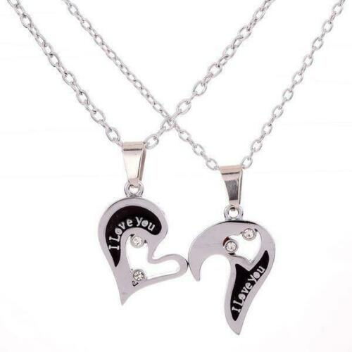 2 Men/'s Women/'s Puzzle Stainless Steel Heart Love Heart Pendant Couple Necklace