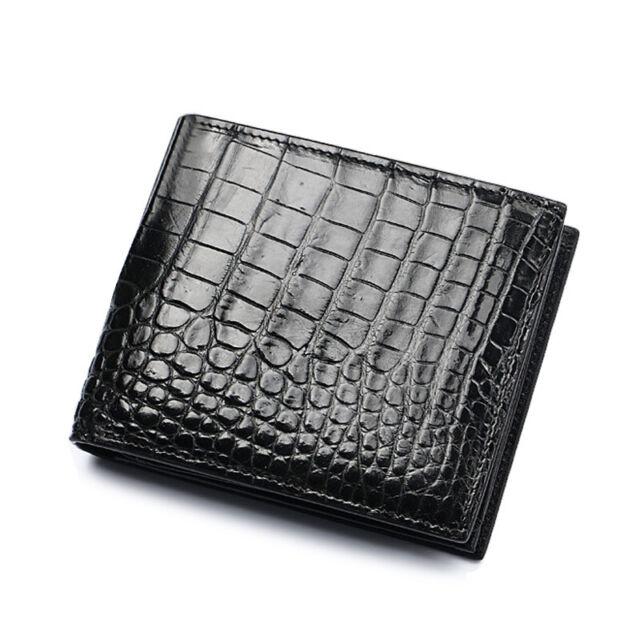 Genuine Real Tail Crocodile Alligator Skin Leather Man Bifold Dark Brown Wallet