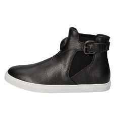 scarpe donna JUST CAVALLI 37 EU stivaletti grigio nero pelle tessuto AD191-B