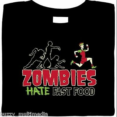 ZOMBIES HATE FAST FOOD Walking Dead RUNNING ZOMBIE Funny Men/'s Tee shirt