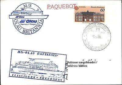 Hilfreich Ms Olau Britannia Schiffsmotiv & Schiffsstempel Bordpost Auf Postkarte Gelaufen