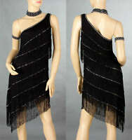 Lady Evening&Cocktail Party Night Club One Shoulder Fringe Latin Style Dress 174