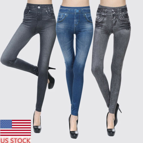 US Womens Denim Jeggings Skinny Tight Jeans Stretch Long Pencil Pants Trousers