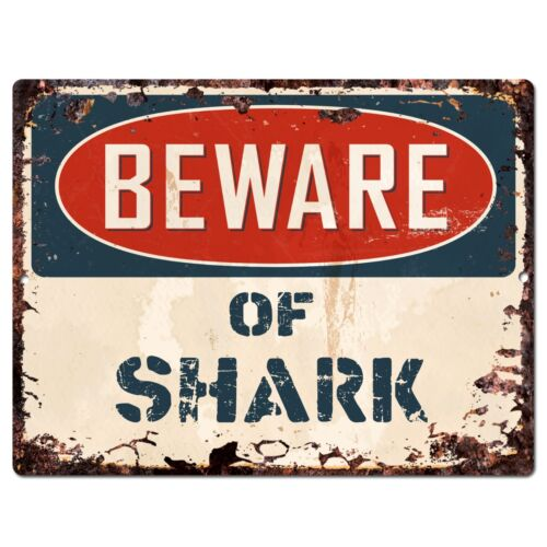 PP1331 Beware of SHARK Plate Rustic Chic Sign Home Room Store Decor Gift