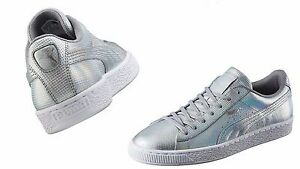 d60aaac3f2c1cd Image is loading Puma-Men-039-s-BASKET-CLASSIC-HOLOGRAPHIC-SILVER-