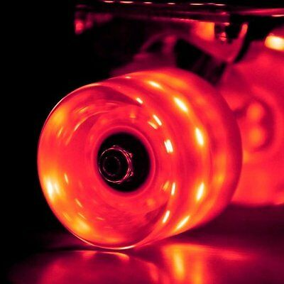 Set of 4 LED Lightup Skateboard Wheels with ABEC-7 Bearings 60x45mm - Red Wheels