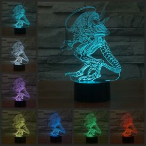 Details About 3d Alien Abstract 7 Color Illusion Led Touch Desk Table Night Light Lamp Usb