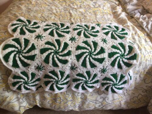 Lap Blanket handmade baby size peppermint afghan crocheted