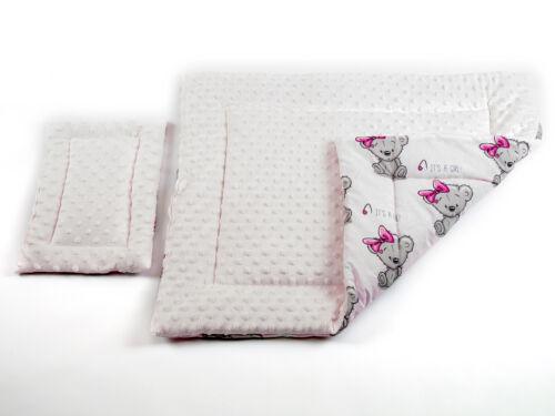 Set Baby Kinder Bettdecke Steppbett 70 x 57 cm 2-tlg und Kissen 33 x 25 cm