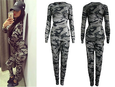 Womens Ladies Plus Size Army Camouflage Print Jogging Suit Tracksuit Uk 8 To 26 Ebay