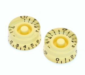 (2) Crème 1-10 Speed Knobs For Gibson ® & Guitar/bass Avec Cts Pots Pk-0130-028-afficher Le Titre D'origine