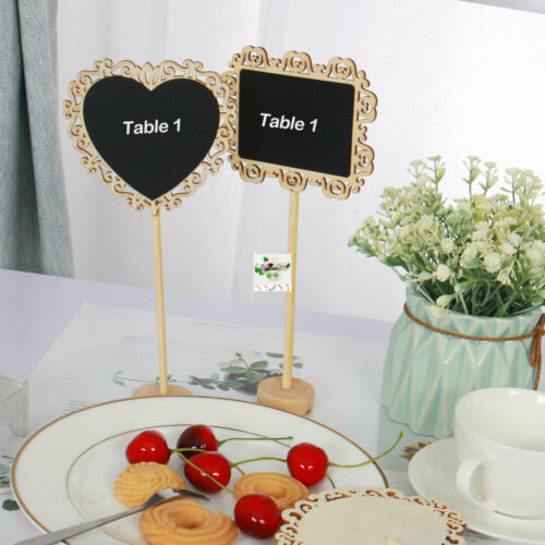 Wood Mini Chalkboard Tag Sign with Base Stand for Wedding Message Board Sign