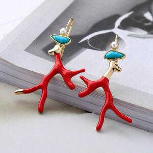Boucles-d-039-Oreilles-Chandelier-Branche-Corail-Email-Rouge-Art-Deco-Turquoise-X27