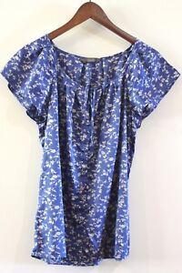 Jacqui-E-Womens-Size-12-M-Blue-amp-White-Multi-coloured-Floral-Cap-Sleeve-Blouse