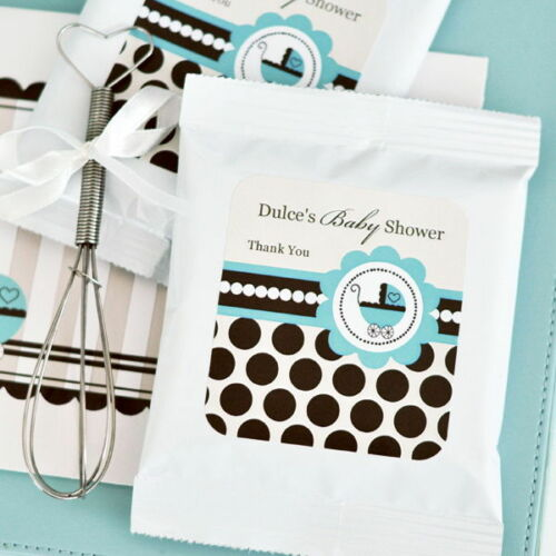 48 Personalized Blue Baby Boy Theme Hot Cocoa Mix Pouches Baby Shower Favors