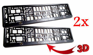 Image is loading 2x-Black-3D-Mercedes-Benz-European-Euro-License-  sc 1 st  eBay : mercedes benz number plate holder - pezcame.com