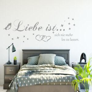 Details zu Wandtattoo Wandaufkleber Wandsticker Schlafzimmer Spruch AA168  Liebe ist...