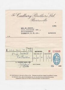 cadbury brothers ltd bournville confectioners 1954 receipt ref 12856
