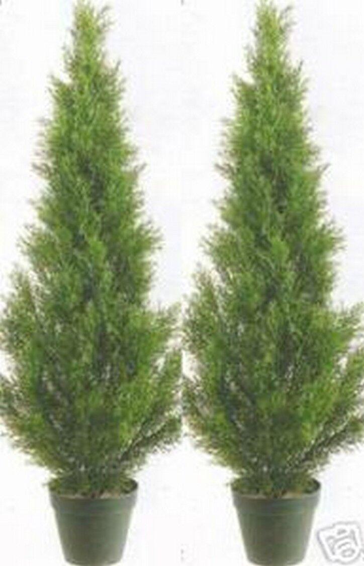 2 Artificial 3' Cedar Topiary Tree Outdoor UV Plant 36  Cypress Pine 7 5 4 6 Pot