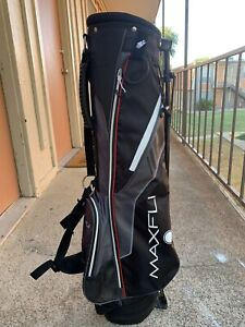 MAXFLI-JR-GOLF-Club-Bag-4-Pockets-With-Stand-amp-Carry-Strap-BLACK-GRAY-Purple