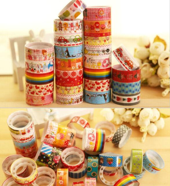 Wholesale 10 Rolls Mixed Cartoon Deco Washi Adhesive Tape Scrapbooking Sticker