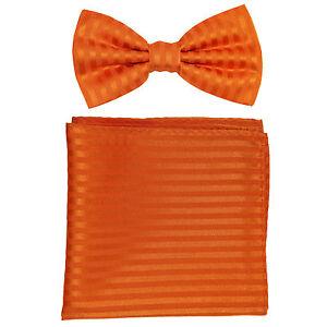 New formal men/'s pre tied Bow tie /& Pocket Square Hankie solid orange wedding