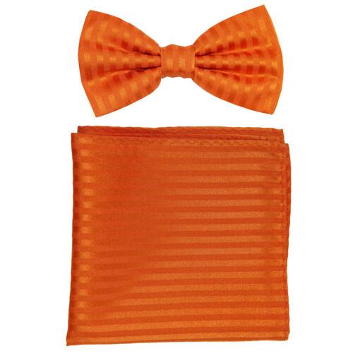 New formal men/'s pre tied Bow tie /& Pocket Square Hankie stripes orange wedding