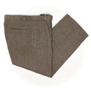 Polo-Ralph-Lauren-Tweed-Pants-34x29-Brown-Green-Herringbone-Wool-Side-Tabs-USA