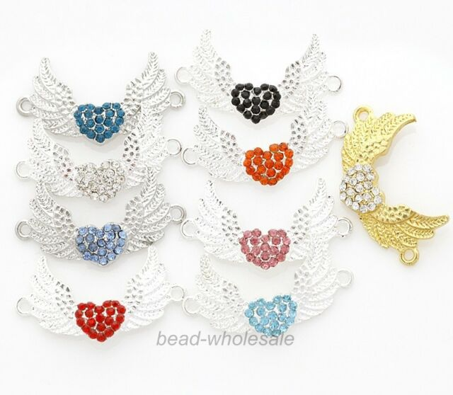 6pcs Shiny Charm Crystal Rhinestone Paved Heart & Wings Connectors 10 Colors New