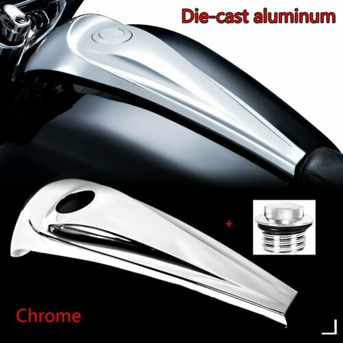 Chrome Smooth Dash Fuel Console Cover/&Gas Tank Cap For Harley Touring 08 09-17