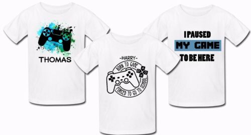 Personalised Gaming tshirt Top paused my game to be here gift Birthday ps4